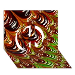 Special Fractal 31 Green,brown Peace Sign 3d Greeting Card (7x5)