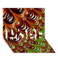 Special Fractal 31 Green,brown HOPE 3D Greeting Card (7x5)