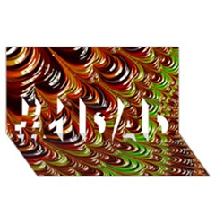 Special Fractal 31 Green,brown #1 DAD 3D Greeting Card (8x4)