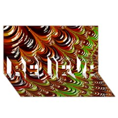 Special Fractal 31 Green,brown Believe 3d Greeting Card (8x4)