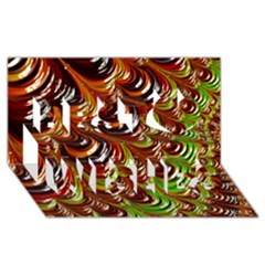 Special Fractal 31 Green,brown Best Wish 3D Greeting Card (8x4)
