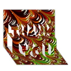 Special Fractal 31 Green,brown THANK YOU 3D Greeting Card (7x5)