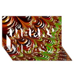 Special Fractal 31 Green,brown Merry Xmas 3d Greeting Card (8x4)