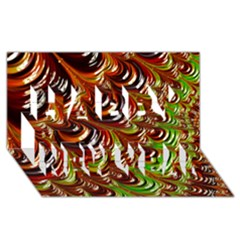 Special Fractal 31 Green,brown Happy New Year 3D Greeting Card (8x4)