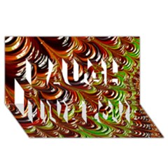 Special Fractal 31 Green,brown Laugh Live Love 3d Greeting Card (8x4)