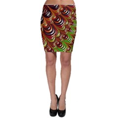 Special Fractal 31 Green,brown Bodycon Skirts