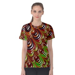 Special Fractal 31 Green,brown Women s Cotton Tees