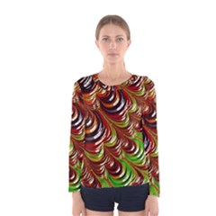 Special Fractal 31 Green,brown Women s Long Sleeve T-shirts