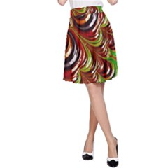 Special Fractal 31 Green,brown A-Line Skirts