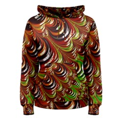 Special Fractal 31 Green,brown Women s Pullover Hoodies