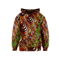 Special Fractal 31 Green,brown Kids Zipper Hoodies