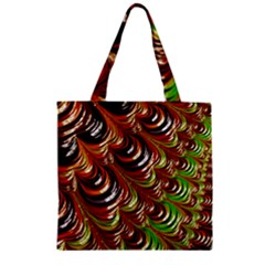 Special Fractal 31 Green,brown Zipper Grocery Tote Bags