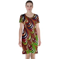 Special Fractal 31 Green,brown Short Sleeve Nightdresses