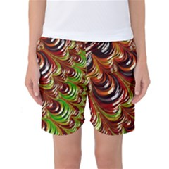 Special Fractal 31 Green,brown Women s Basketball Shorts