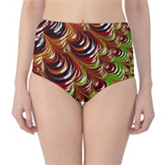 Special Fractal 31 Green,brown High-Waist Bikini Bottoms