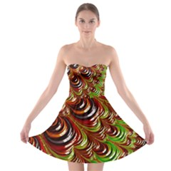 Special Fractal 31 Green,brown Strapless Bra Top Dress