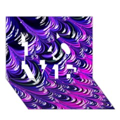 Special Fractal 31pink,purple LOVE 3D Greeting Card (7x5)
