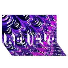 Special Fractal 31pink,purple BELIEVE 3D Greeting Card (8x4)