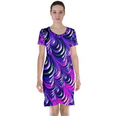 Special Fractal 31pink,purple Short Sleeve Nightdresses