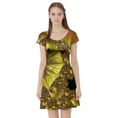 Special Fractal 35cp Short Sleeve Skater Dresses