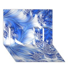 Special Fractal 17 Blue I Love You 3d Greeting Card (7x5)