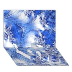 Special Fractal 17 Blue LOVE Bottom 3D Greeting Card (7x5)