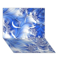 Special Fractal 17 Blue Clover 3d Greeting Card (7x5)