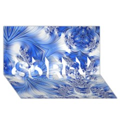Special Fractal 17 Blue SORRY 3D Greeting Card (8x4)