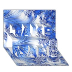 Special Fractal 17 Blue Take Care 3d Greeting Card (7x5)