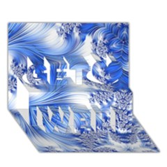 Special Fractal 17 Blue Get Well 3D Greeting Card (7x5)