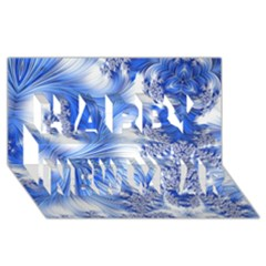 Special Fractal 17 Blue Happy New Year 3d Greeting Card (8x4)