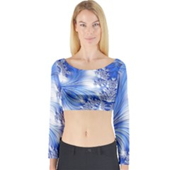 Special Fractal 17 Blue Long Sleeve Crop Top