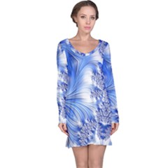 Special Fractal 17 Blue Long Sleeve Nightdresses