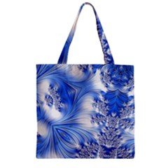 Special Fractal 17 Blue Zipper Grocery Tote Bags