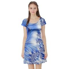 Special Fractal 17 Blue Short Sleeve Skater Dresses