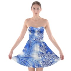 Special Fractal 17 Blue Strapless Bra Top Dress
