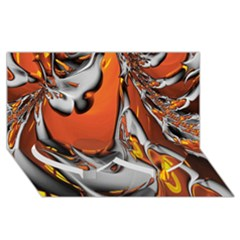 Special Fractal 24 Terra Twin Heart Bottom 3D Greeting Card (8x4)