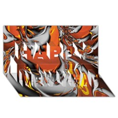 Special Fractal 24 Terra Happy New Year 3D Greeting Card (8x4)