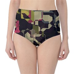 Techno puzzle High-Waist Bikini Bottoms