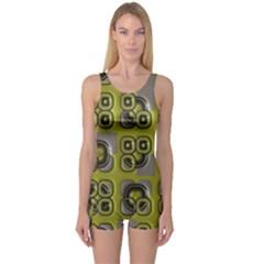 Plastic shapes pattern Women s Boyleg One Piece Swimsuit