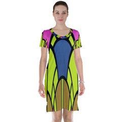 Distorted symmetrical shapes Short Sleeve Nightdress