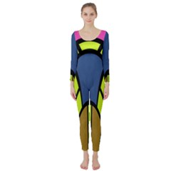 Distorted symmetrical shapes  Long Sleeve Catsuit