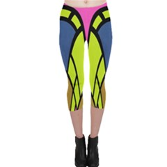 Distorted Symmetrical Shapes Capri Leggings