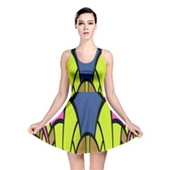 Distorted Symmetrical Shapes Reversible Skater Dress