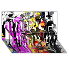 Abstract City View Happy Birthday 3D Greeting Card (8x4)
