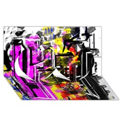 Abstract City View Twin Hearts 3D Greeting Card (8x4)