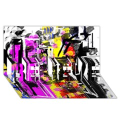 Abstract City View BELIEVE 3D Greeting Card (8x4)