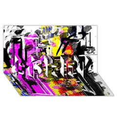 Abstract City View SORRY 3D Greeting Card (8x4)