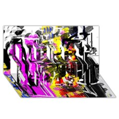 Abstract City View Merry Xmas 3d Greeting Card (8x4)