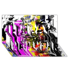 Abstract City View Happy New Year 3D Greeting Card (8x4)